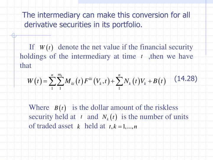 If            denote the net value if the financial security holdings of the intermediary at time    ,then we have that
