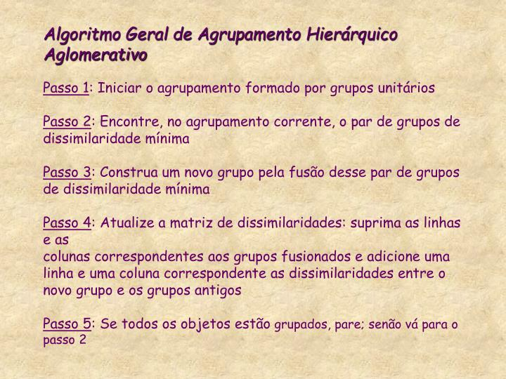 Algoritmo Geral de Agrupamento Hierárquico Aglomerativo