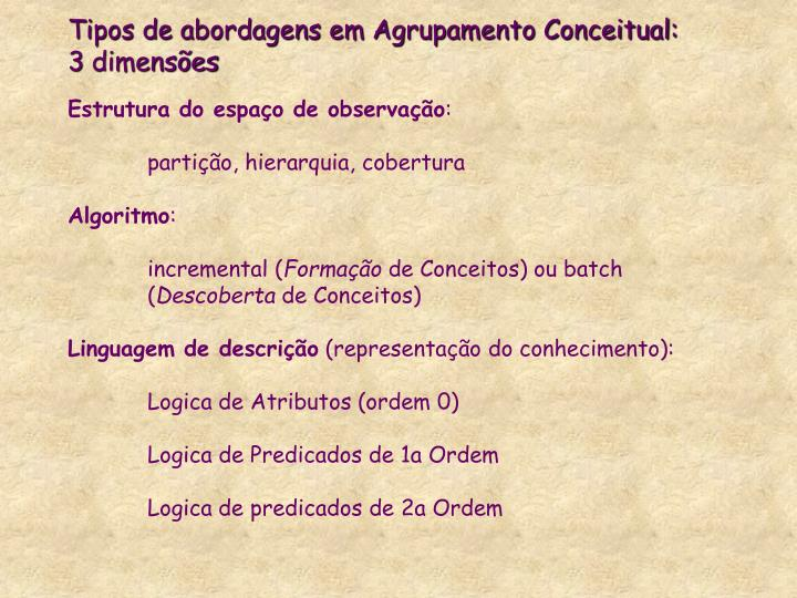 Tipos de abordagens em Agrupamento Conceitual: