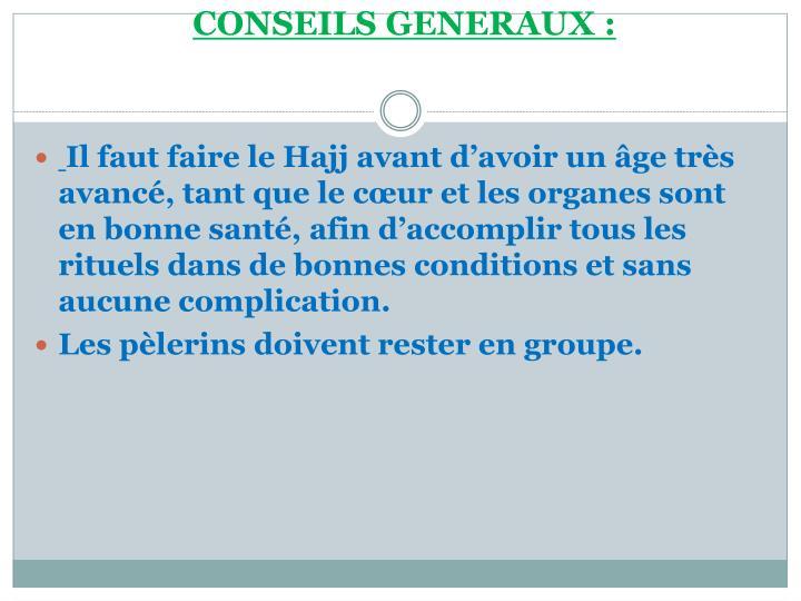 CONSEILS GENERAUX: