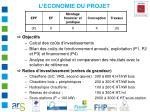 l economie du projet