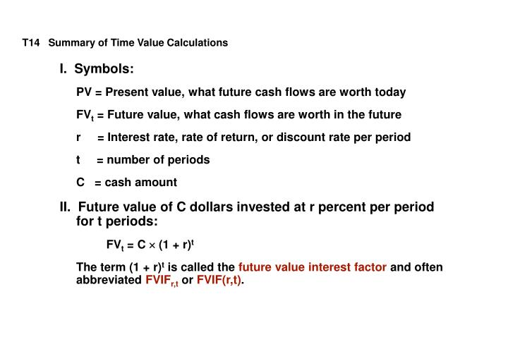 T14   Summary of Time Value Calculations