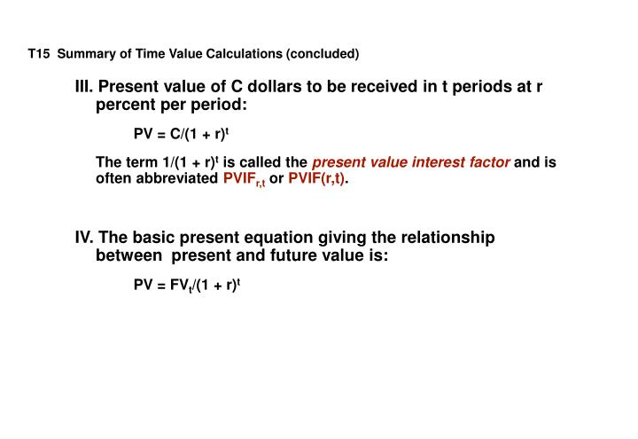 T15  Summary of Time Value Calculations (concluded)