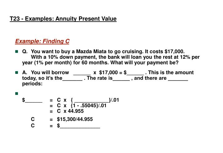 T23 - Examples: Annuity Present Value