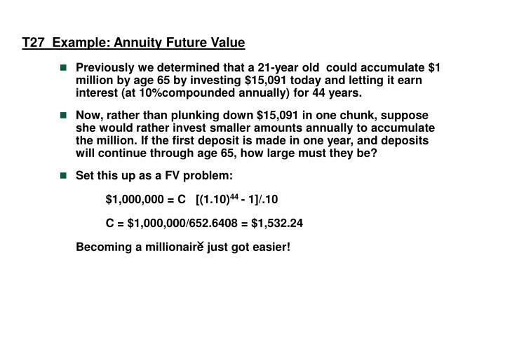 T27  Example: Annuity Future Value