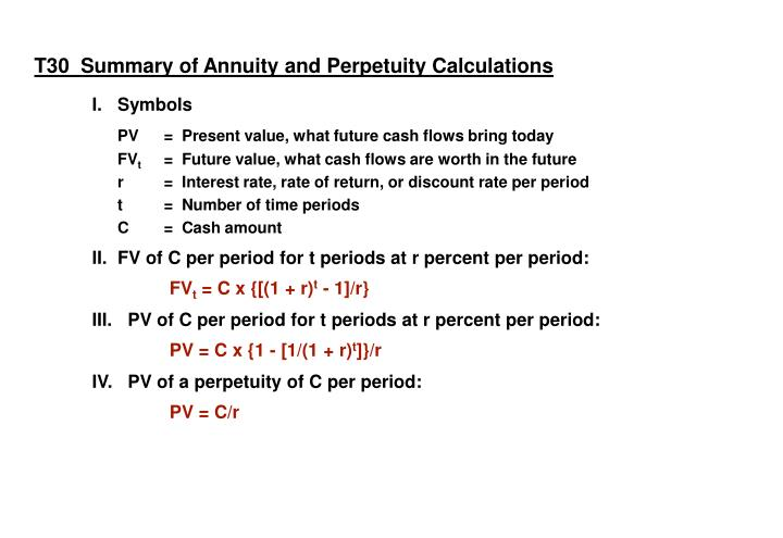 T30  Summary of Annuity and Perpetuity Calculations