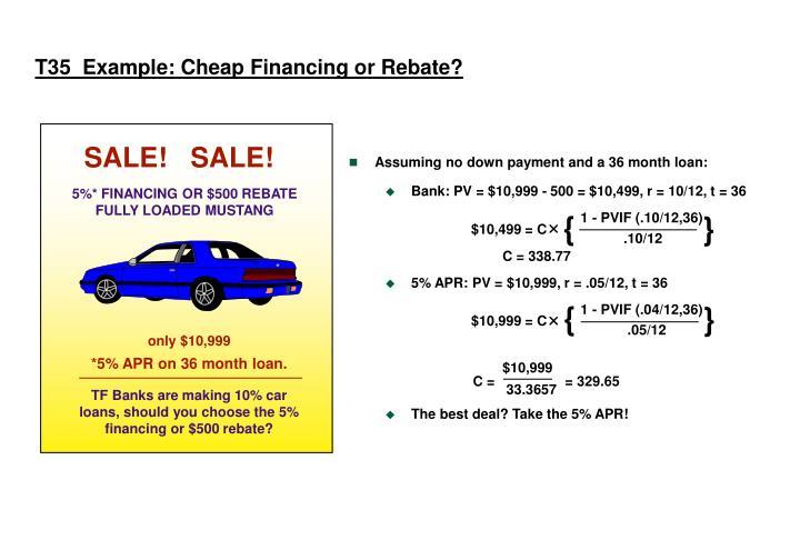 T35  Example: Cheap Financing or Rebate?