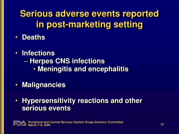Serious adverse events reported in post-marketing setting
