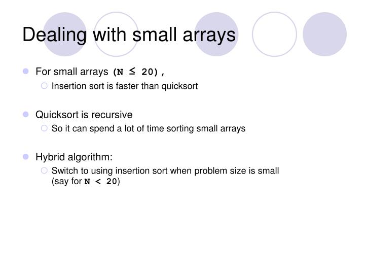 Dealing with small arrays