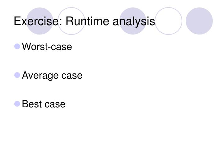 Exercise: Runtime analysis