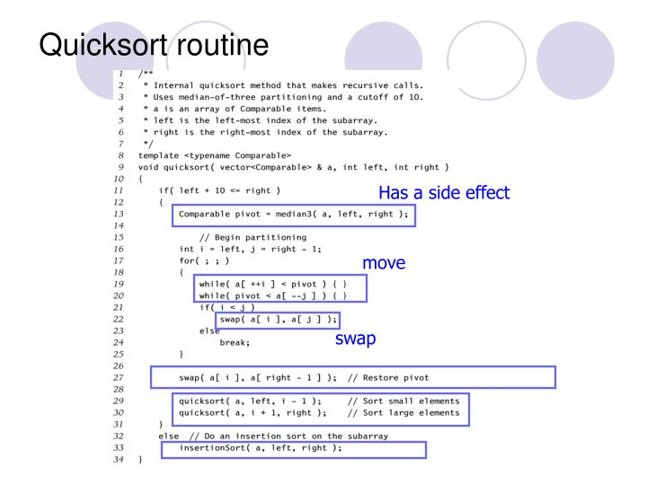 Quicksort routine