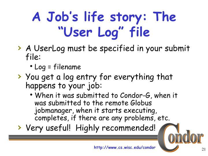 "A Job's life story: The ""User Log"" file"