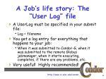a job s life story the user log file