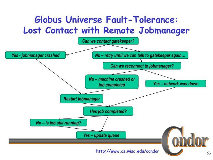 Globus Universe Fault-Tolerance: