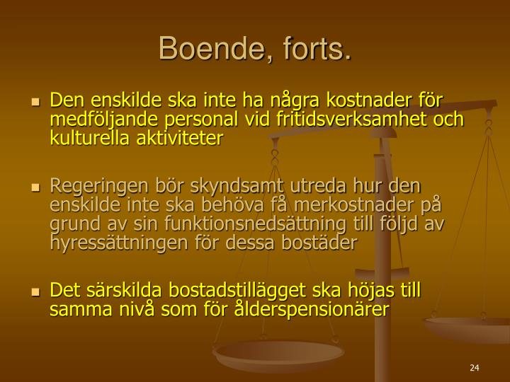 Boende, forts.