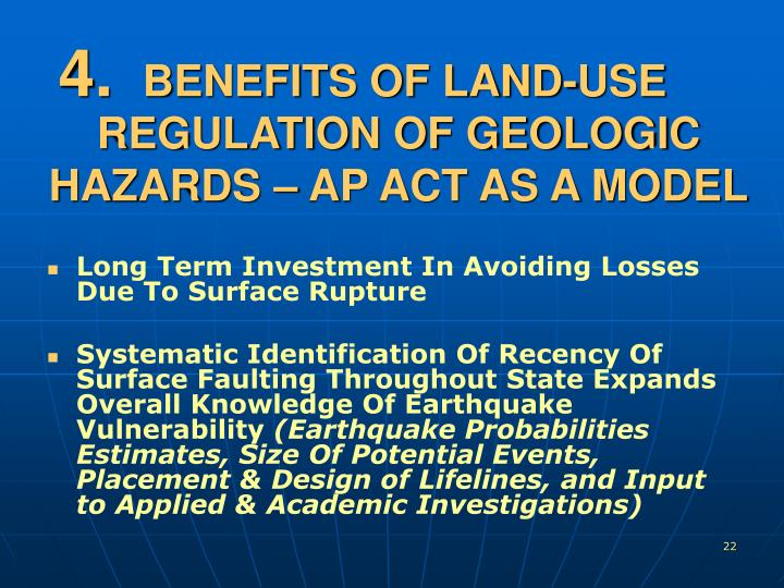 BENEFITS OF LAND-USE REGULATION OF GEOLOGIC HAZARDS – AP ACT AS A MODEL