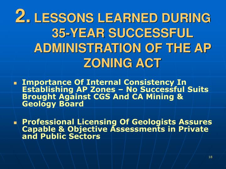 LESSONS LEARNED DURING 35-YEAR SUCCESSFUL ADMINISTRATION OF THE AP ZONING ACT