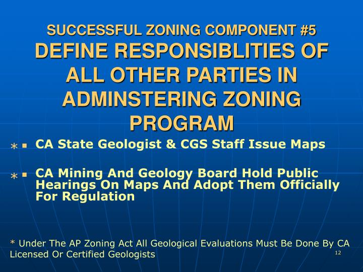 SUCCESSFUL ZONING COMPONENT #5