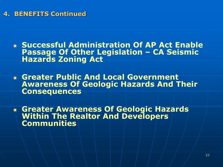 4.  BENEFITS Continued