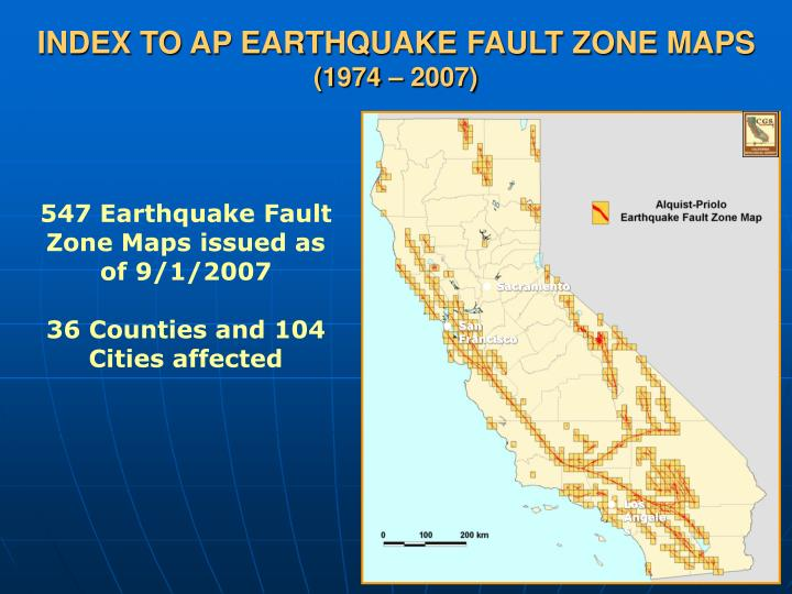 INDEX TO AP EARTHQUAKE FAULT ZONE MAPS