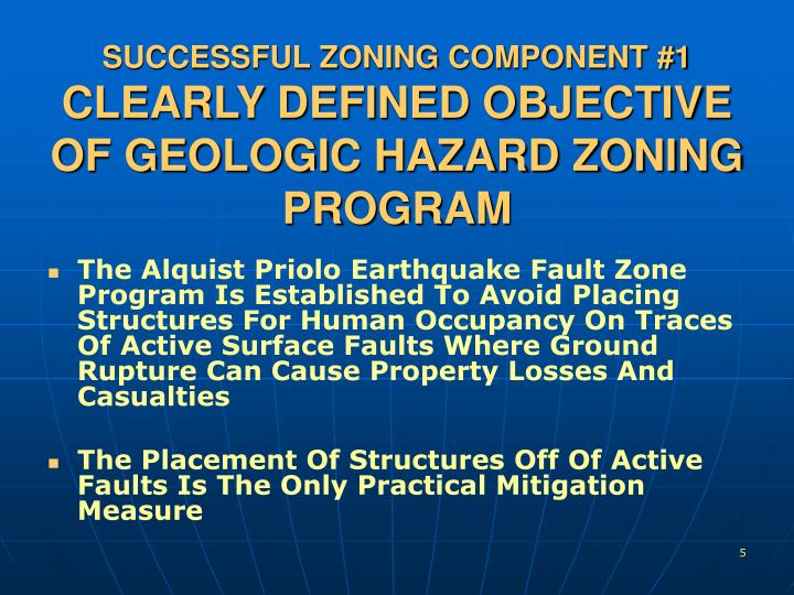 SUCCESSFUL ZONING COMPONENT #1