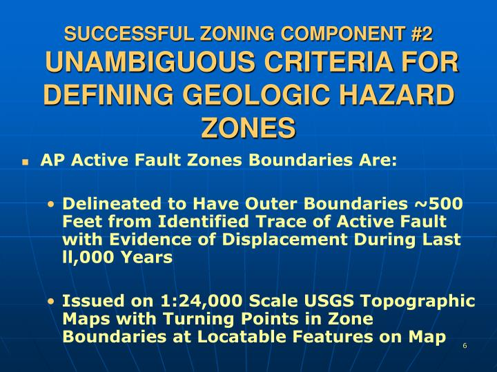 SUCCESSFUL ZONING COMPONENT #2