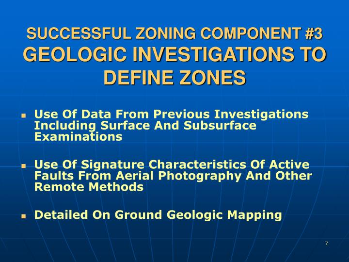 SUCCESSFUL ZONING COMPONENT #3