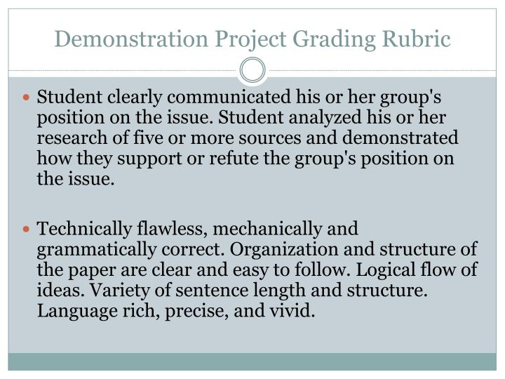 Demonstration Project Grading Rubric