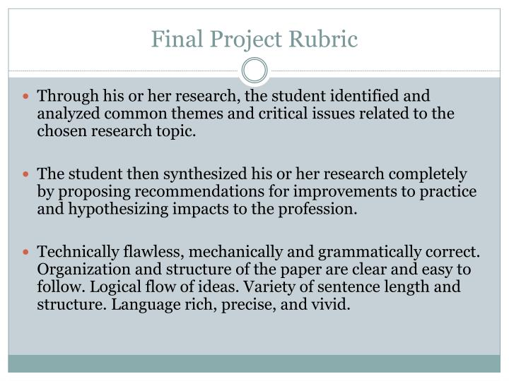 Final Project Rubric