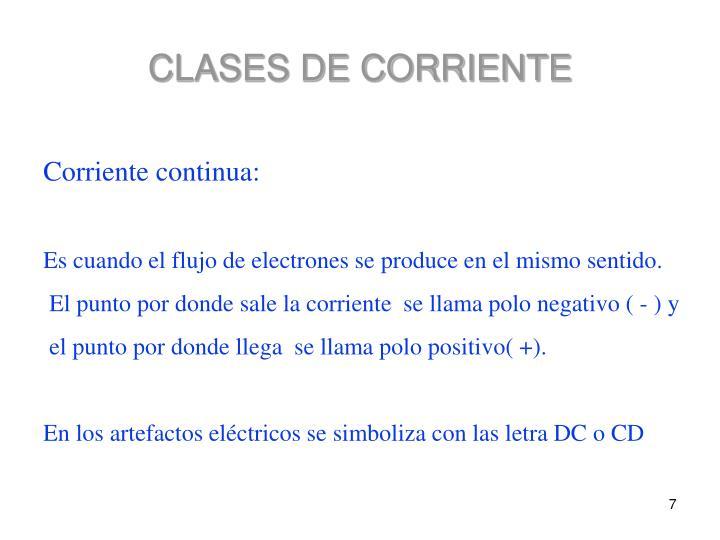 CLASES DE CORRIENTE