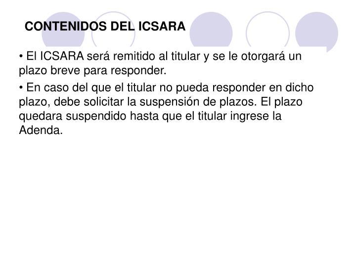 CONTENIDOS DEL ICSARA