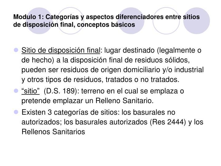 Modulo 1: Categorías y aspectos diferenciadores entre sitios de disposición final, conceptos básicos