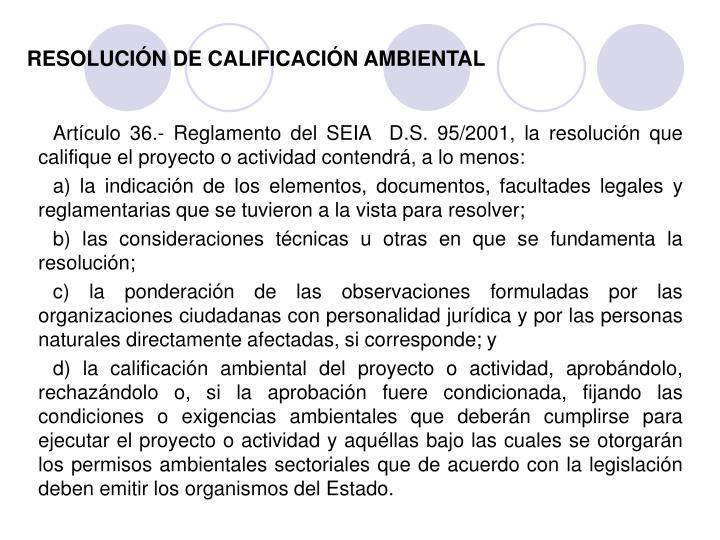 RESOLUCIÓN DE CALIFICACIÓN AMBIENTAL
