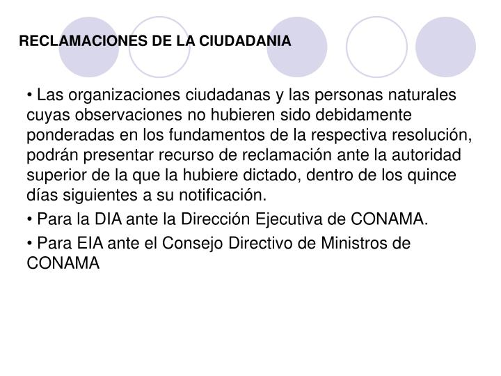 RECLAMACIONES DE LA CIUDADANIA