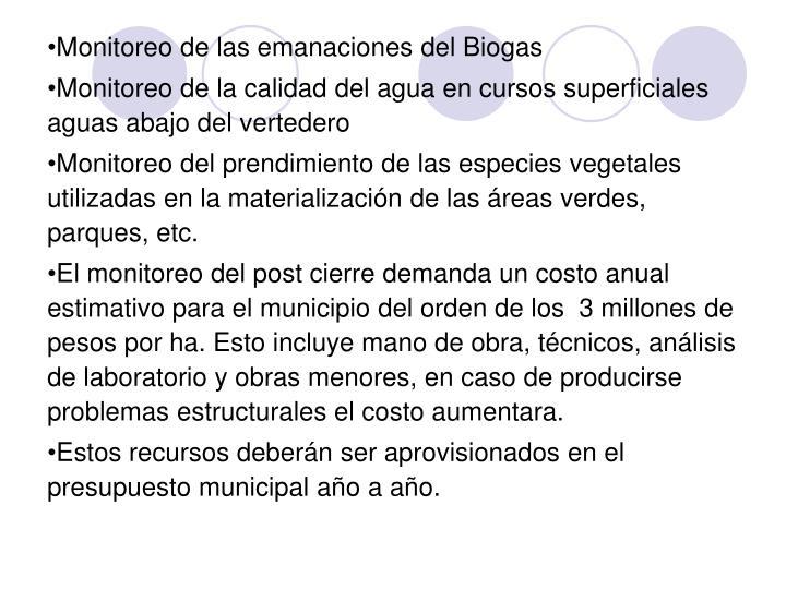 Monitoreo de las emanaciones del Biogas