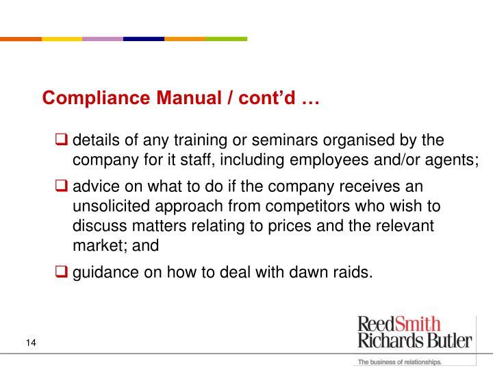 Compliance Manual / cont'd …
