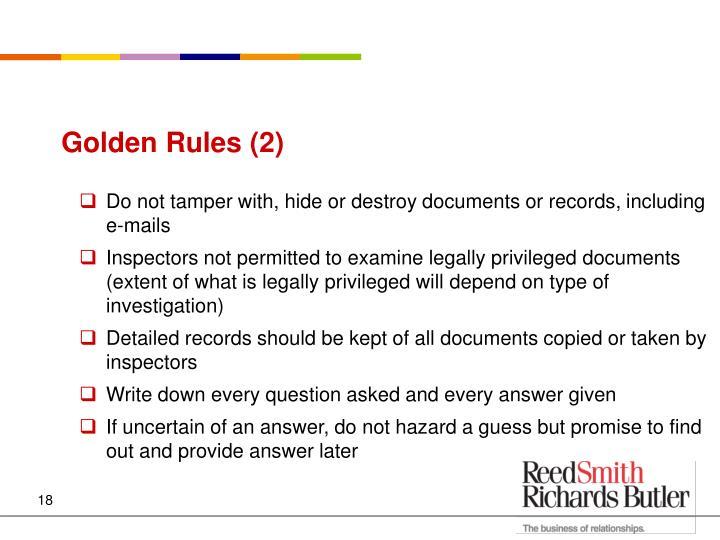 Golden Rules (2)