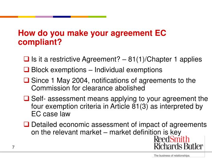How do you make your agreement EC compliant?