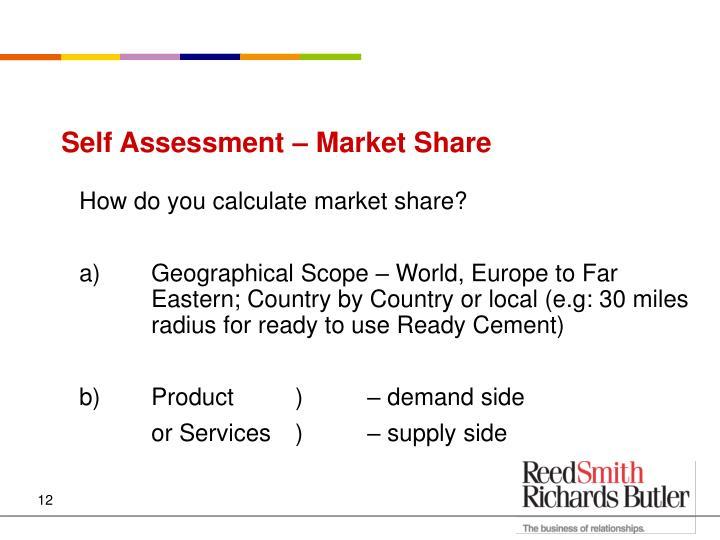 Self Assessment – Market Share
