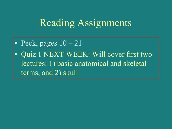 Reading Assignments