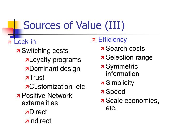 Sources of Value (III)