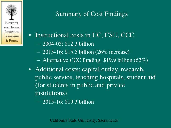 Summary of Cost Findings