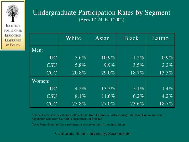 Undergraduate Participation Rates by Segment