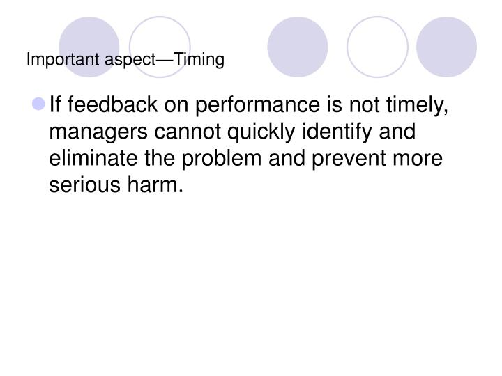 Important aspect—Timing