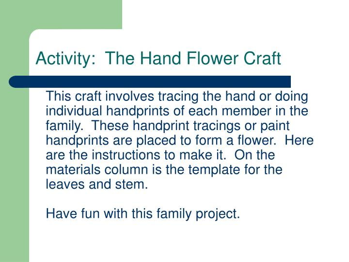 Activity:  The Hand Flower Craft
