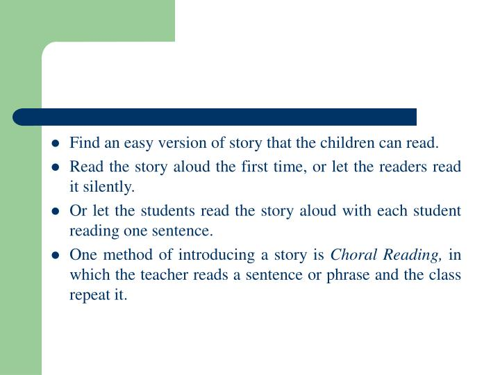 Find an easy version of story that the children can read.