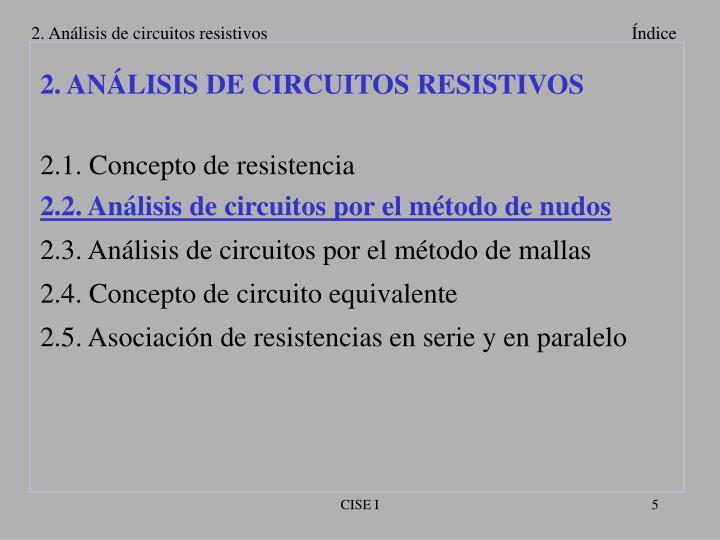 2. Análisis de circuitos resistivos
