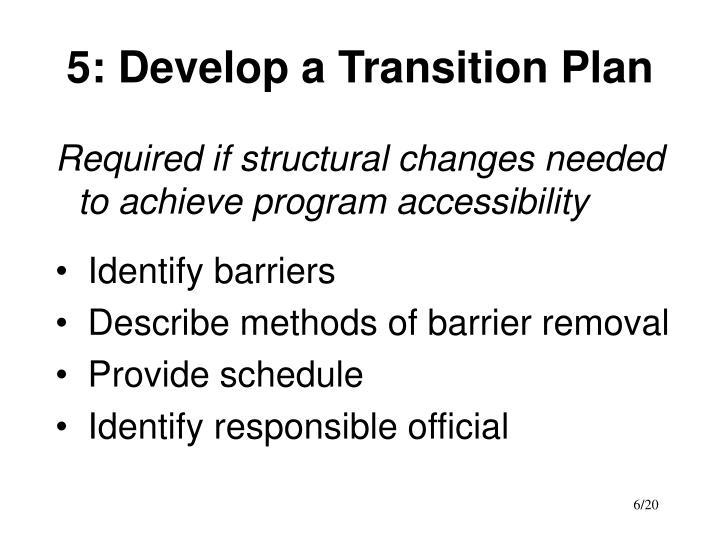 5: Develop a Transition Plan