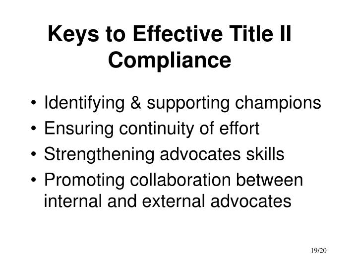 Keys to Effective Title II Compliance