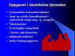 oppgaver i skolehelse tjenesten